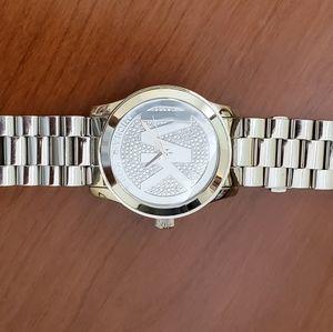 Michael Kors Silver MK Pave logo watch